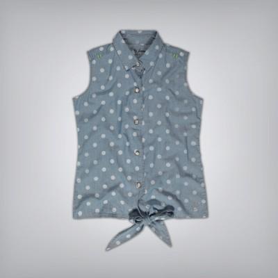 GJ Jeans Unltd Casual Sleeveless Polka Print Girl's Blue Top