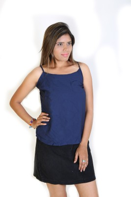 Fashion Fakir Casual Sleeveless Solid Women's Blue Top