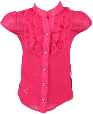Pami Party Short Sleeve Solid Baby Girl's Pink Top