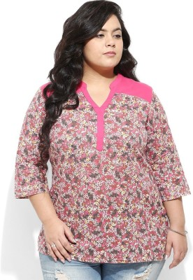 Amydus Casual 3/4 Sleeve Floral Print Women's Pink Top