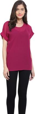 Ama Bella Casual Short Sleeve Solid Women's Purple Top