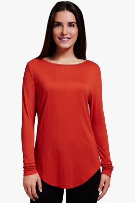 PNY Casual Full Sleeve Solid Women,s Red Top
