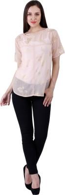 Selfiwear Casual Short Sleeve Printed Women's Gold Top