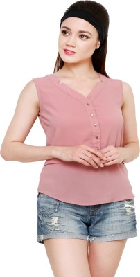 AT BY TARUNA Casual Sleeveless Solid Women's Pink Top