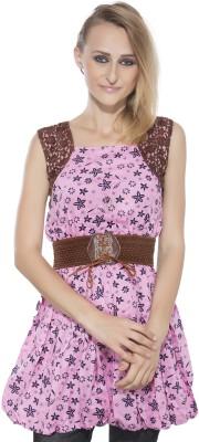 Membooz Casual, Party Short Sleeve Self Design Women's Pink Top