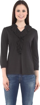 Miss Grace Casual 3/4 Sleeve Solid Women's Black Top