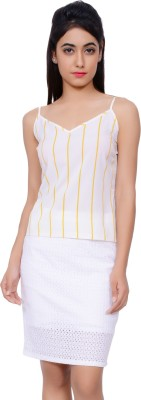 Lamora Casual Sleeveless Striped Women's Yellow Top