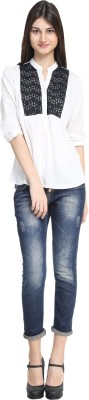 zurick Casual 3/4 Sleeve Applique Women's White Top