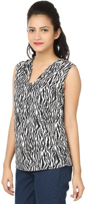 Aussehen Party Sleeveless Printed Women's Black, White Top