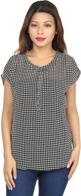 Chloe Casual Short Sleeve Houndstooth Women,s Black, White Top