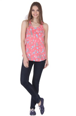 Rrajsee Casual Sleeveless Printed Women's Pink Top