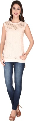 SOIE Casual Sleeveless Solid Women's Pink Top