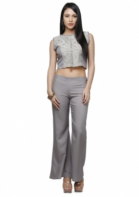 Abhishti Festive Sleeveless Self Design Women's Grey Top