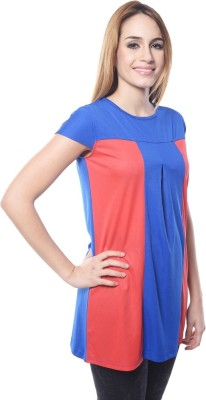 Visach Casual Cape Sleeve Solid Women's Blue, Red Top