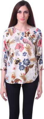 Ozel Casual 3/4 Sleeve Printed Women's Multicolor Top