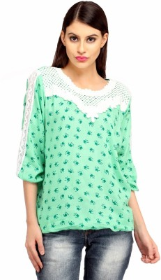 Snoby Casual 3/4 Sleeve Printed Women's Green Top
