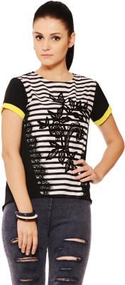 RSVP Cross Casual Short Sleeve Striped Women's Black, White Top