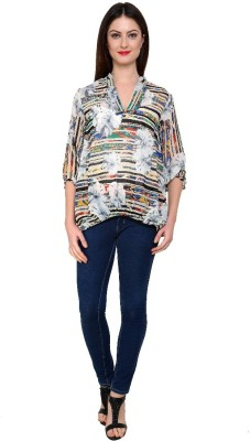 Zotw Casual 3/4 Sleeve Printed Women's Multicolor Top