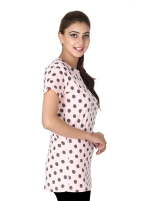 Broche Casual Short Sleeve Polka Print Women's Pink Top