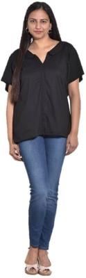 Entease Casual Short Sleeve Solid Women's Black Top