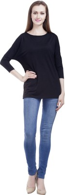 MansiCollections Casual 3/4 Sleeve Solid Women's Black Top