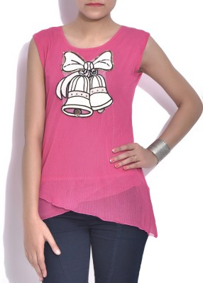 London Off Casual Sleeveless Applique Women's Pink Top
