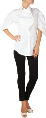 Karmik Casual Puff Sleeve Solid Women's White Top