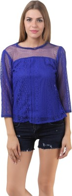 Lili Blank Casual 3/4 Sleeve Solid Women's Blue Top