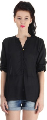 Pepe Jeans Casual Full Sleeve Solid Women's Black Top