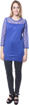Firemark Casual 3/4 Sleeve Solid Women's Blue Top