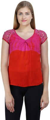 Bainy Casual Short Sleeve Solid Women,s Multicolor Top
