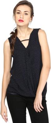 Besiva Formal Sleeveless Printed Womens Black, White Top