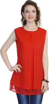 Urbane Woman Casual Sleeveless Solid Women's Red Top