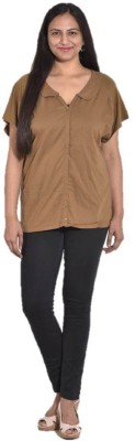 Entease Casual Short Sleeve Solid Women's Brown Top