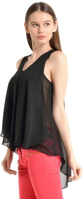 Kazo Casual Sleeveless Solid Women's Black Top