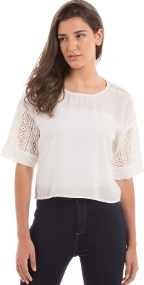 Prym Casual 3/4 Sleeve Solid Women's White Top