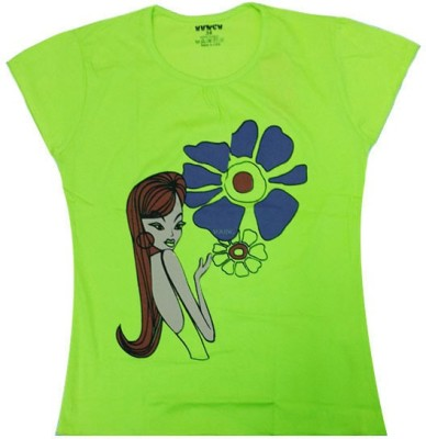Hunch Casual Short Sleeve Graphic Print Girl's Green Top