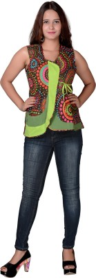 Uttam Enterprises Casual Sleeveless Printed Women's Brown Top