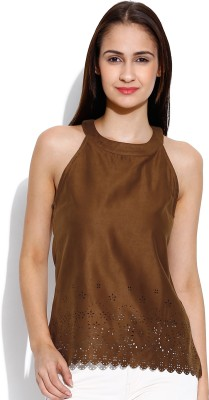 Envy Me Casual Sleeveless Solid Women's Brown Top