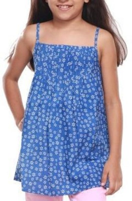 Trmpi Casual Noodle strap Floral Print Girl's Blue Top