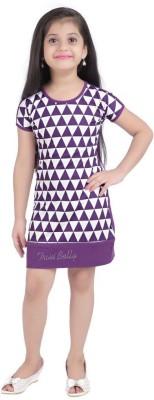 Triki Casual Short Sleeve Printed Girl's Purple Top