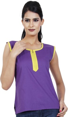 Visach Casual Sleeveless Solid Women's Purple Top