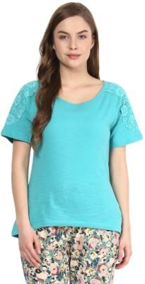 Rose Vanessa Casual Short Sleeve Solid Women's Green Top