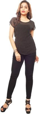 Reinvent Casual Short Sleeve Self Design Women's Black Top