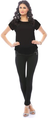 Pinwheel Casual Cap sleeve Solid Women's Black Top