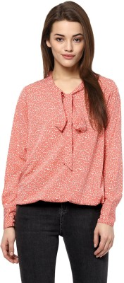 Color Cocktail Casual Full Sleeve Printed Women's Pink Top