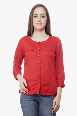 Miss Queen Casual Roll-up Sleeve Solid Women's Red Top
