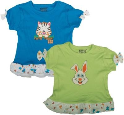Mee Mee Casual Short Sleeve Printed Baby Girl's Dark Blue, Green Top