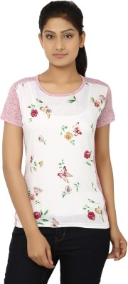 Aussehen Casual Short Sleeve Floral Print Women's Pink, White Top