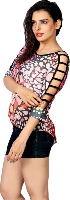 IRTALUCY Casual Short Sleeve Printed Women's Multicolor Top